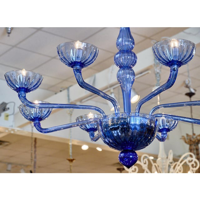 Blue Blue Murano Glass Chandelier For Sale - Image 8 of 10