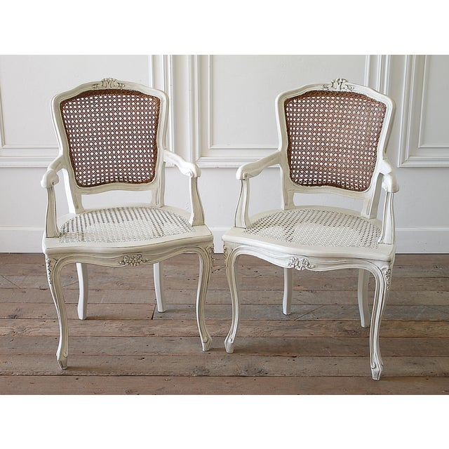 20th Century Vintage Painted Cane Back Open Arm Chairs- A Pair For Sale - Image 13 of 13