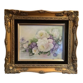 Vintage Custom Framed Hand Painted Porcelain White Cabbage Roses & Lavender Florals Plaque by Rose Reck For Sale