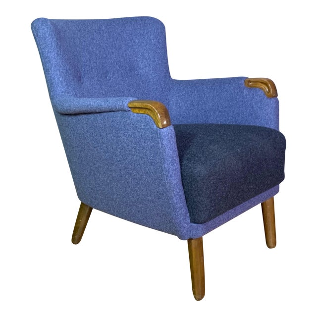 1950s Danish Armchair, New Kvadrat Felted Wool Upholstery For Sale