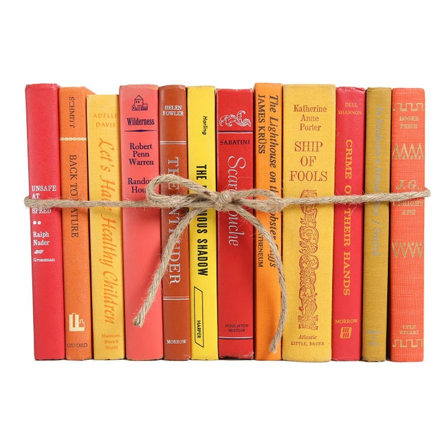 Boho Chic Midcentury Sunset Colorpak - Decorative Books in Shades of Orange, Yellow, Red For Sale - Image 3 of 3
