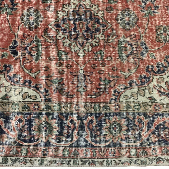 Industrial Vintage Distressed Turkish Carpet | 6'8 X 10'9 For Sale - Image 3 of 6