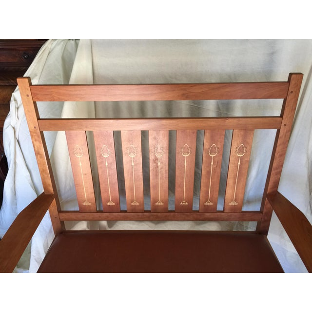 Arts & Crafts Harvey Ellis Stickley Bench in Cherry For Sale - Image 3 of 10