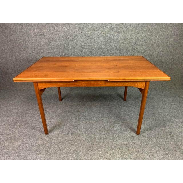 Wood 1960s Scandinavian Modern Teak Draw Leaf Dining Table For Sale - Image 7 of 11