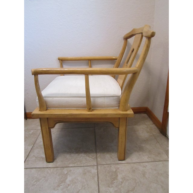 Vintage Chinese Chippendale Style Chinoiserie Blonde Wood Chair - Image 5 of 11
