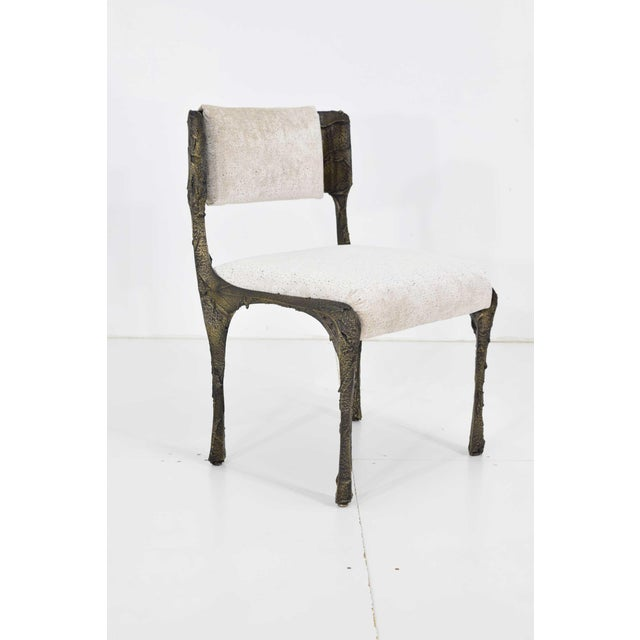 Brutalist Set of Six Paul Evans Brutalist Sculpted Bronze and Resin Dining Chairs, 1972 For Sale - Image 3 of 13