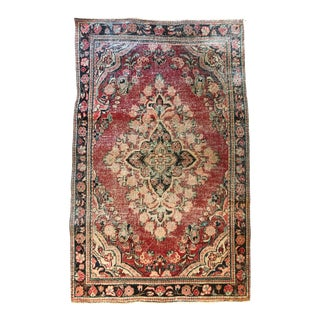 Vintage Middle Eastern Hand-Knotted Wool Rug For Sale