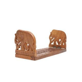 Vintage Hand Carved Wooden Elephant Bookend Holder