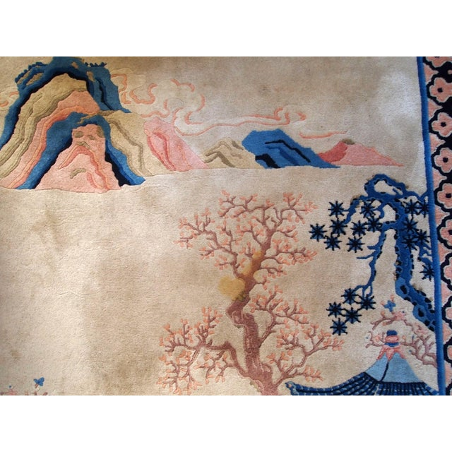 1970s Hand Made Vintage Art Deco Chinese Rug - 4' X 6' For Sale - Image 4 of 9