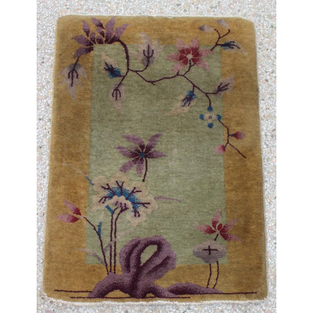 Antique 1924 Nichols Wool Rug Tientsin North China Flowers Motif For Sale - Image 9 of 10
