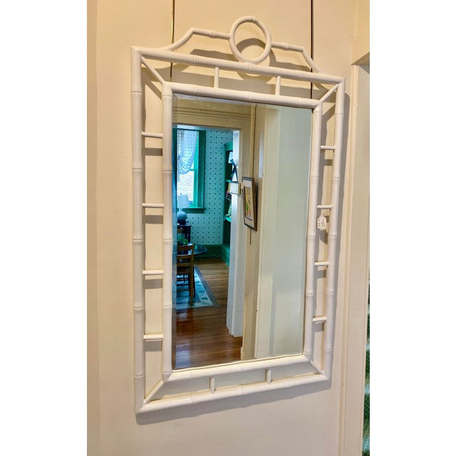"""White Chippendale style bamboo mirror, 31"""" wide x 55.5"""" high. Interesting circle shape on top, bamboo style frame."""