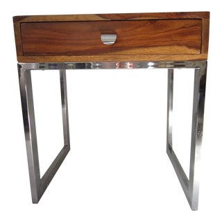 1970s Modernist Chrome Wood Side Table For Sale