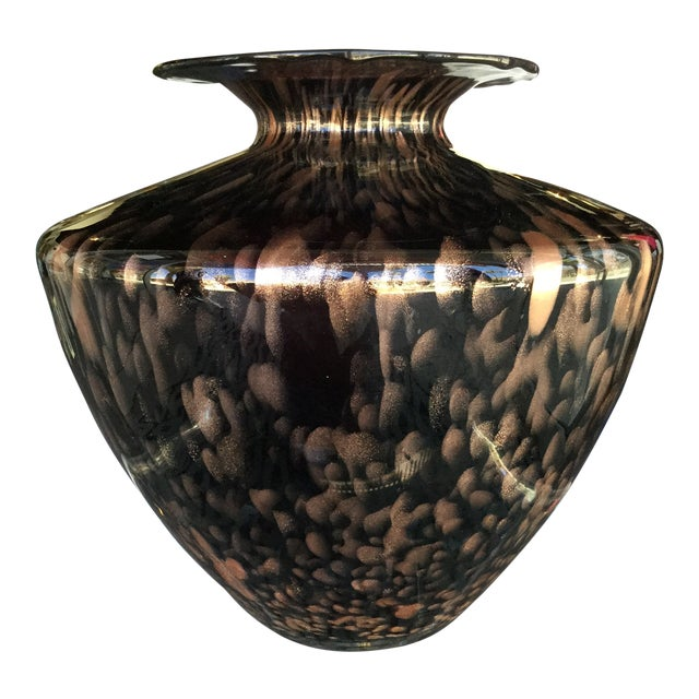 Italian Modern Glass and Copper Dust Vase For Sale