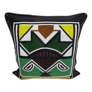 Handmade Beaded Leather Decorative Pillow