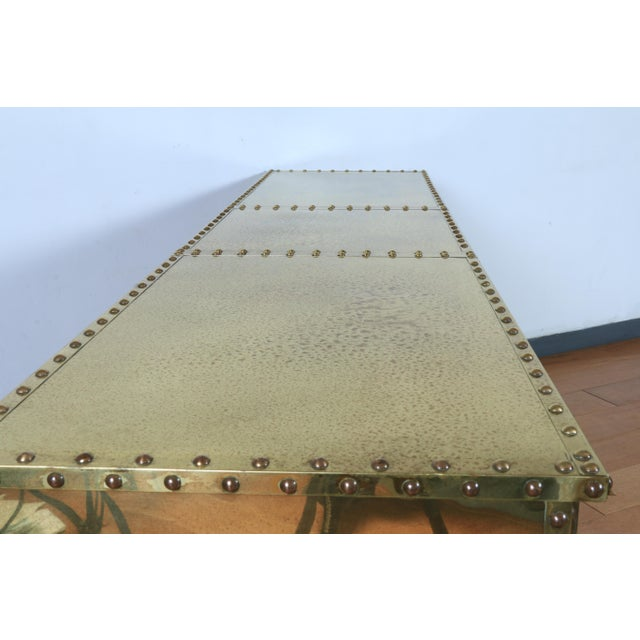 Abstract Vintage Brass Cabinet Styled After Sarreid Ltd For Sale - Image 3 of 5