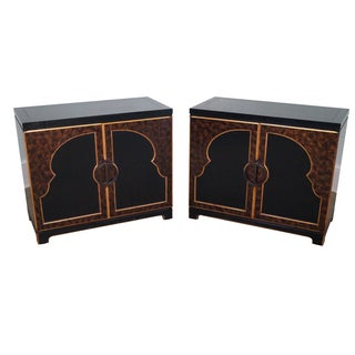 Widdicomb Black/Gold Faux Painted Cabinets - Pair