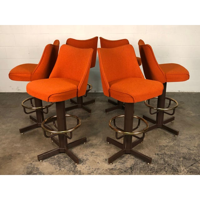 Orange Tweed Mid-Century Modern Bar Stool With Brass Foot Ring ~ Set of 6 For Sale - Image 11 of 11