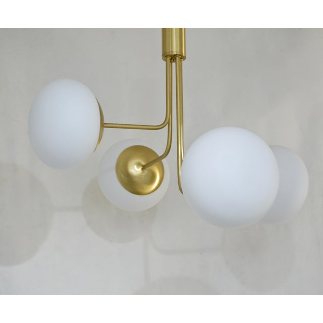 2010s Contemporary Italian Modern Satin Brass & 4 White Murano Glass Globe Chandelier For Sale - Image 5 of 13
