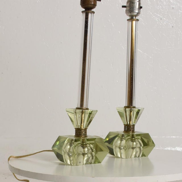 Crystal Hollywood Regency Era Crystal Table Lamps With Light Green Color Set of 2 For Sale - Image 7 of 11
