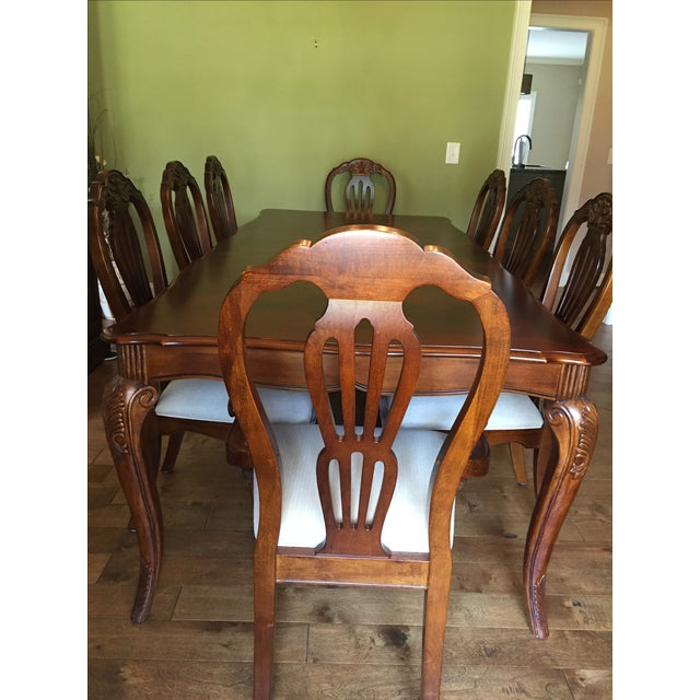 Cherry Wood Dining Room Table - Image 2 of 11
