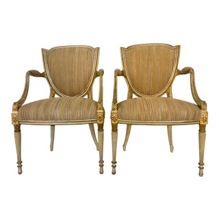 18th C. French Louis XVI Shield Giltwood & Leather Armchairs - A Pair
