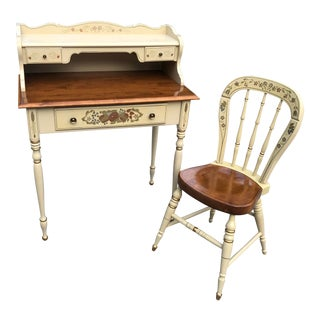 Ethan Allen Hitchcock Style Desk and Chair - 2 Piece Set For Sale