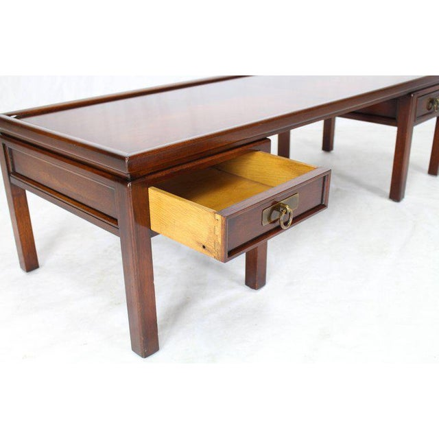Mid 20th Century Mahogany Double Pedestal Two Drawers Rectangular Coffee Table For Sale - Image 5 of 8