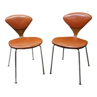1960s Mid-Century Modern Plycraft Orange Cherner Chairs - a Pair For Sale