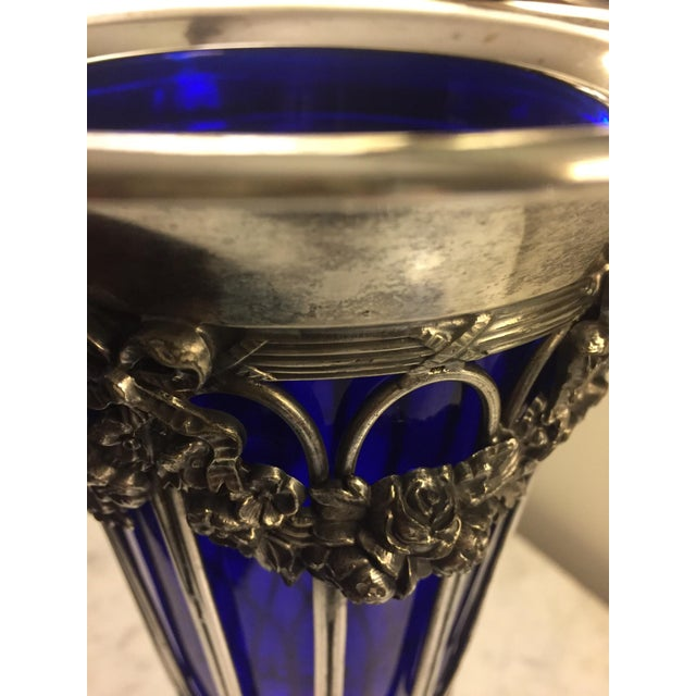 Sheffield Silver Vase With a Cobalt Glass Liner For Sale - Image 10 of 13