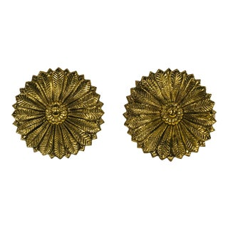 Late 20th Century Brass Sunflower Curtain Tiebacks - Pair For Sale