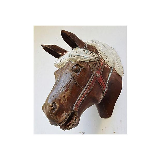 1940s Hand-Carved Carousel Horse Head - Wall Mounted - Image 7 of 11