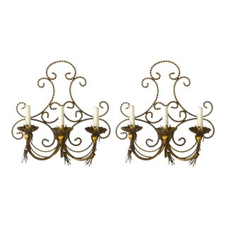 Hollywood Regency Italian Gilt Rope and Tassel Sconces - a Pair