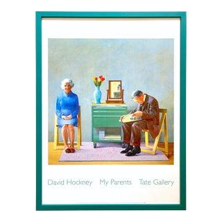 "David Hockney Rare Vintage 1996 Lithograph Print Framed Tate Gallery Pop Art Poster "" My Parents "" For Sale"