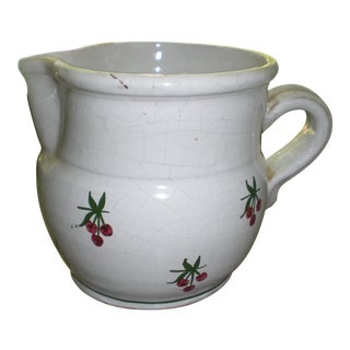 Vintage French Country White Cherry Pitcher For Sale