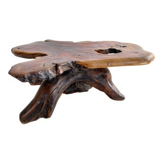 1950s Live Edge Slab Wood George Nakashima Style Coffee Table For Sale