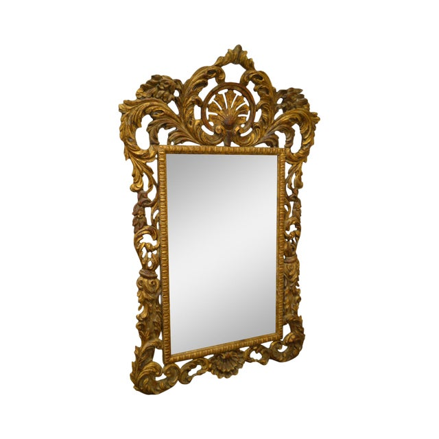 Rococo Style Large Giltwood Beveled Wall Mirror - Image 1 of 10