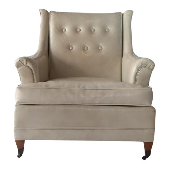 Vintage Tufted Club Chair with Casters For Sale