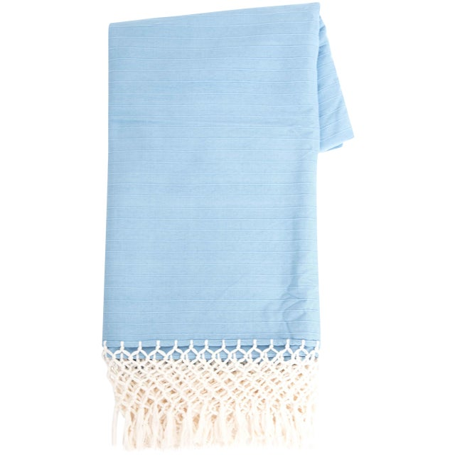 Sky Blue Cotton Tablecloth - Image 1 of 6