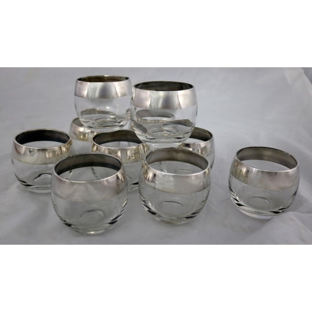 Sterling Silver Rimmed Roly Poly Cocktail Glasses Attributed to Dorothy Thorpe Set 10 For Sale - Image 13 of 13