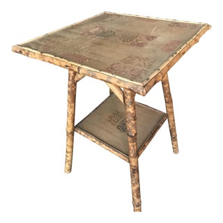 Antique Art Nouveau English Burnt Bamboo Side Table For Sale