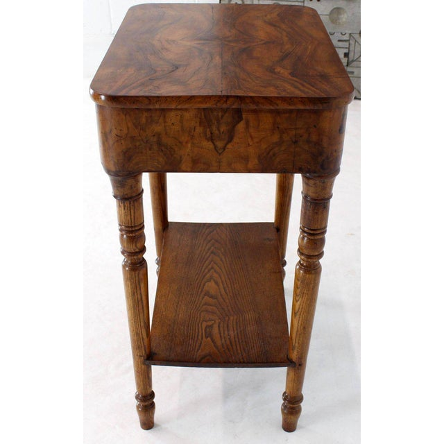 19th Century Biedermeier Burl Walnut One Drawer Sewing Stand Table For Sale - Image 11 of 13