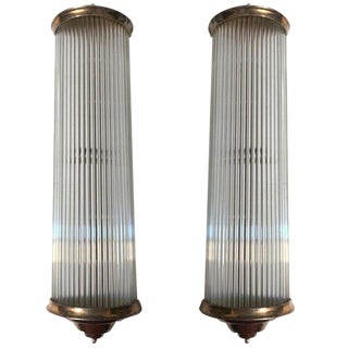 French Art Deco Modernist Clear Glass Rod Sconces by Petitot - A Pair For Sale
