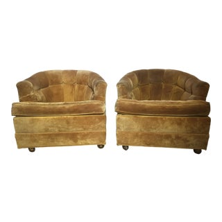 Final Markdown Suede Barrel Chairs on Brass Casters Mid Century - Pair For Sale