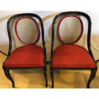 Pair of Ebony and Red Hollywood Regency Style Swan Head Arm or Office Chairs Preview