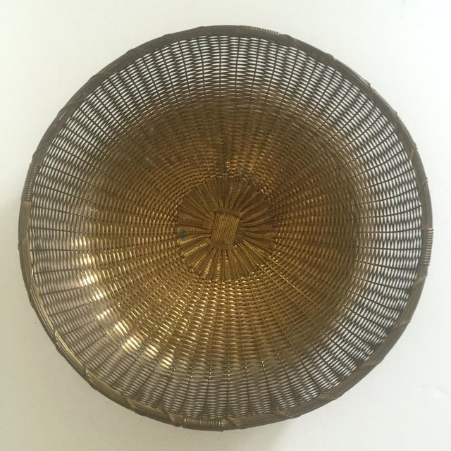 Vintage 1940's Brass Hand Woven Large Round Rustic Metal Basket - Image 9 of 11