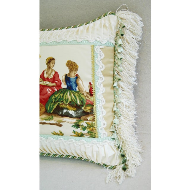 Designer English Harvest Pleated Silk Pillow - Image 3 of 5
