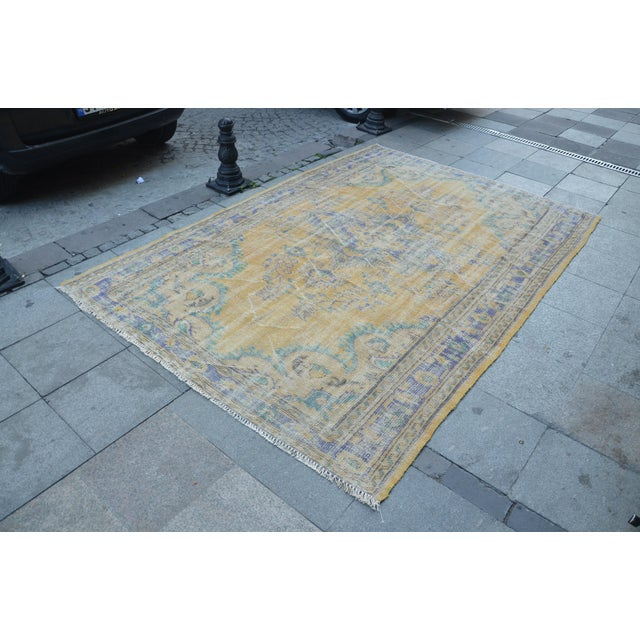 Oushak Area Bohemian Turkish Wool Rug - 6′4″ × 9′5″ - Image 3 of 6