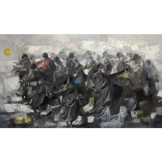 Abstract Juan Ruiz Chamizo -Procession of Nuns - Oil Painting C.1965 For Sale - Image 3 of 11
