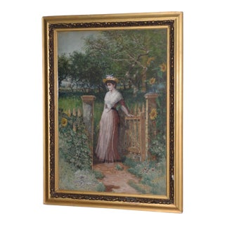 Early 20th C. Portrait of Young Woman at Gardens Gate Watercolor Painting For Sale