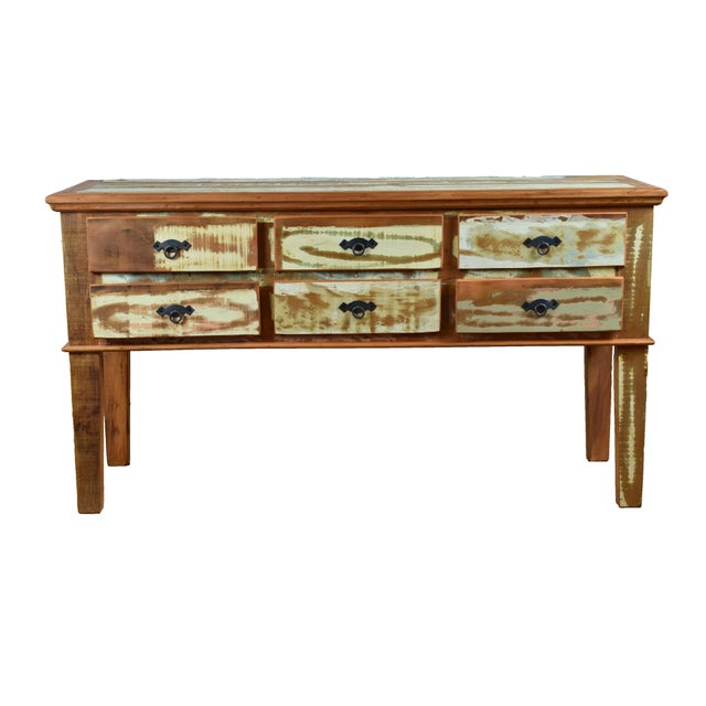 Reclaimed Peroba Wood Handmade Eco-Friendly 6 Drawer Console Table For Sale In Los Angeles - Image 6 of 6